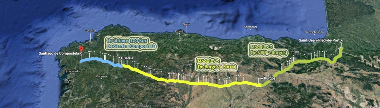 Caminho de Santiago de Compostela - Trechos