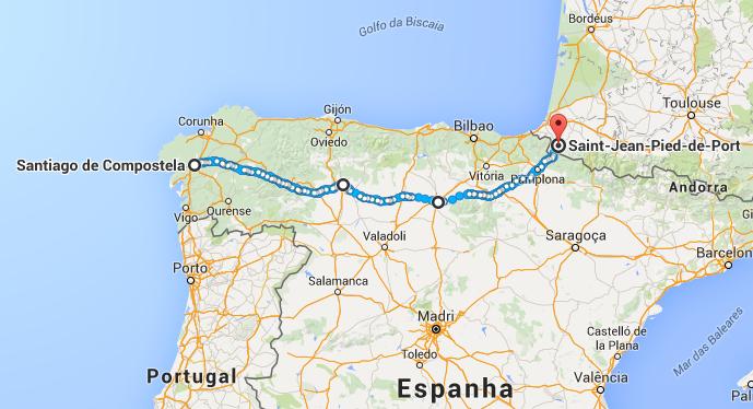 mapa caminho de santiago - Compostelana e Fisterrana
