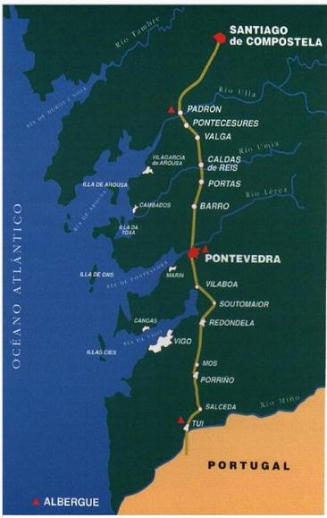Caminho Português para Santiago de Compostela - mapa